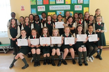 ifth class girls with their coderdojo certificates.